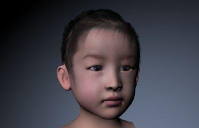 写实小女孩儿童头像maya模型,贴图全
