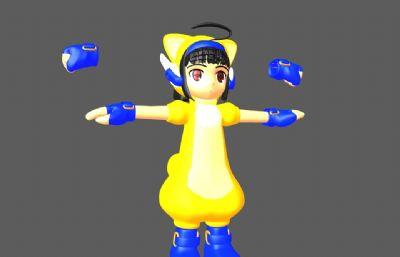 Q版kitsune拳击小娃娃maya模型