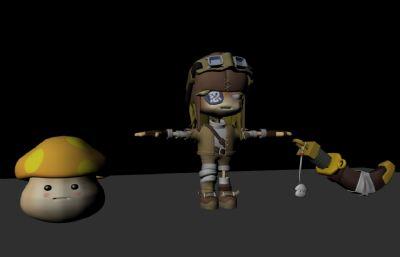 Q版海�I娃娃,小蘑菇,佩刀maya模型,有�N�D