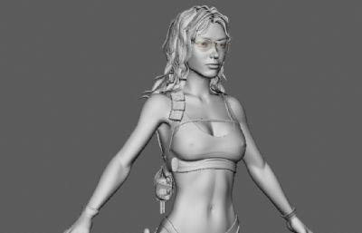 特�N女兵,美女士兵maya模型
