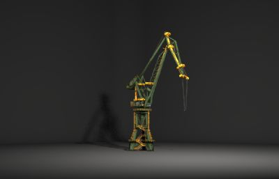 破旧的起重机,吊机3D模型