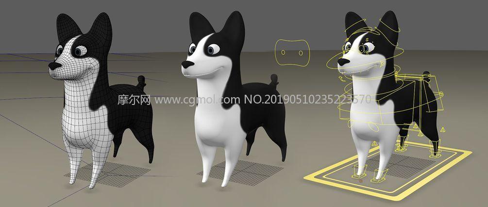 约翰-卡通宠物狗maya模型,带绑定