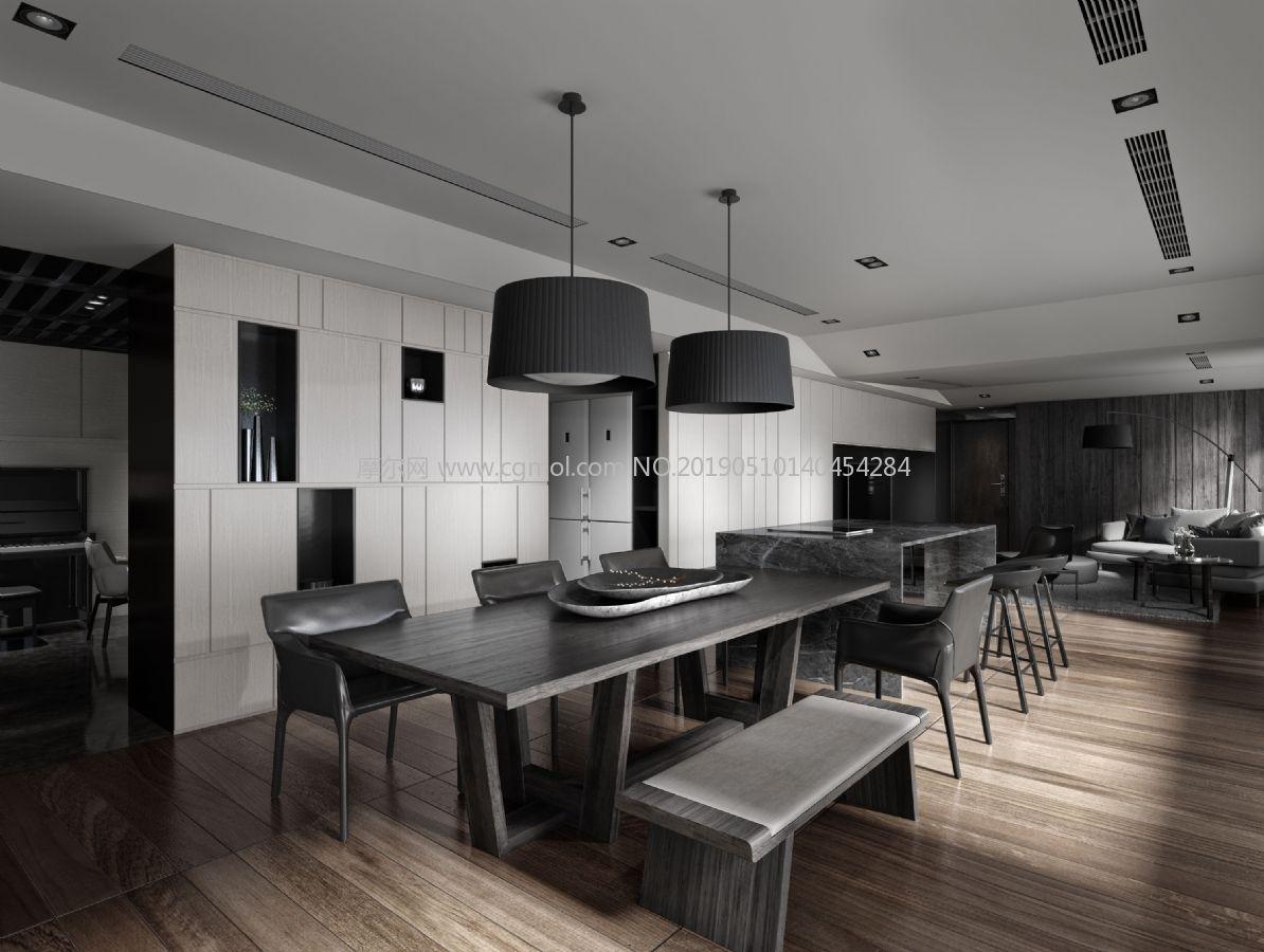 灰色调宽敞客餐厅max模型