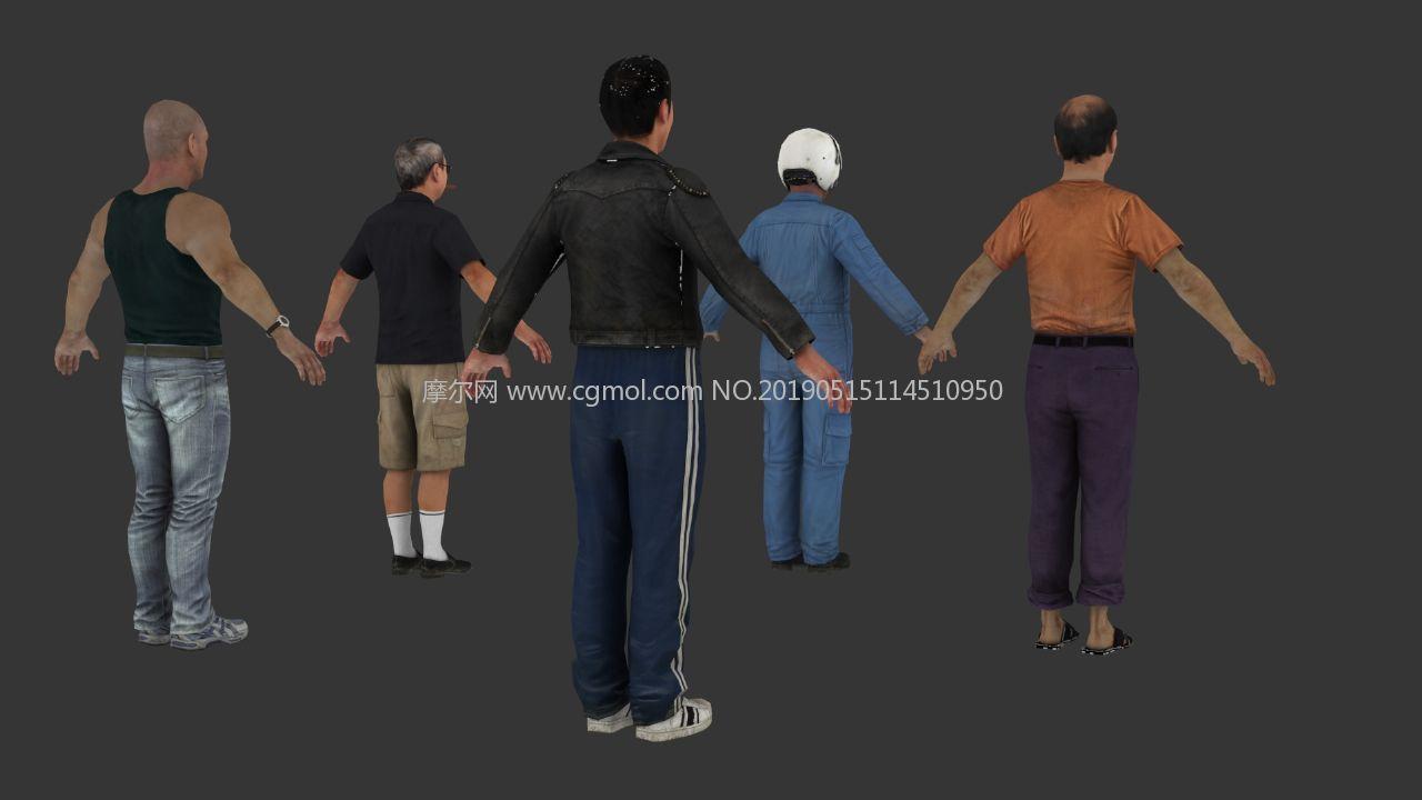 中����洲人物包,日本人,�w行�T,特警,大叔等人物模型,max,fbx格式