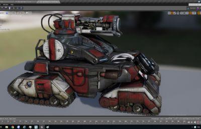 绑定履带滚轮坦克C4D模型,炮台旋转动画(网盘下载)