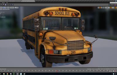 带绑定的school bus学生校?#30340;?#22411;,?#24515;?#37096;场景,FBX,MAX,C4D格式