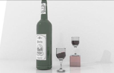 红酒瓶,红酒杯静物场景Maya模型