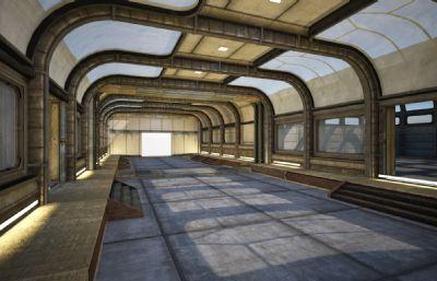 未来科技基地城市,仓库,机甲战车维修库内部场景Max模型