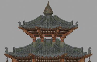 古代八角亭建模maya白模模型,�o�N�D