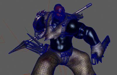 �T�训墨F人武士步兵,狂�鹗�maya模型精模