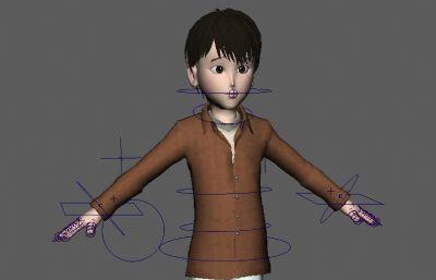 �Ы�定的�r衣小男孩maya模型