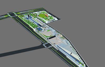 南京大屠杀遇难同胞纪念馆,抗战胜利纪念馆max大型场景模型,有贴图
