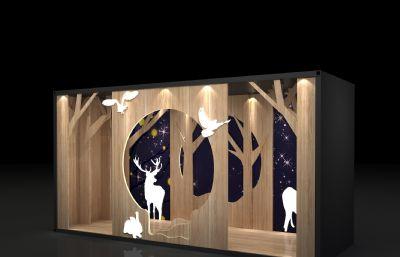 标签:森系森林橱窗美陈活动合影区树木动物剪影立柜展示互动区会场小图片