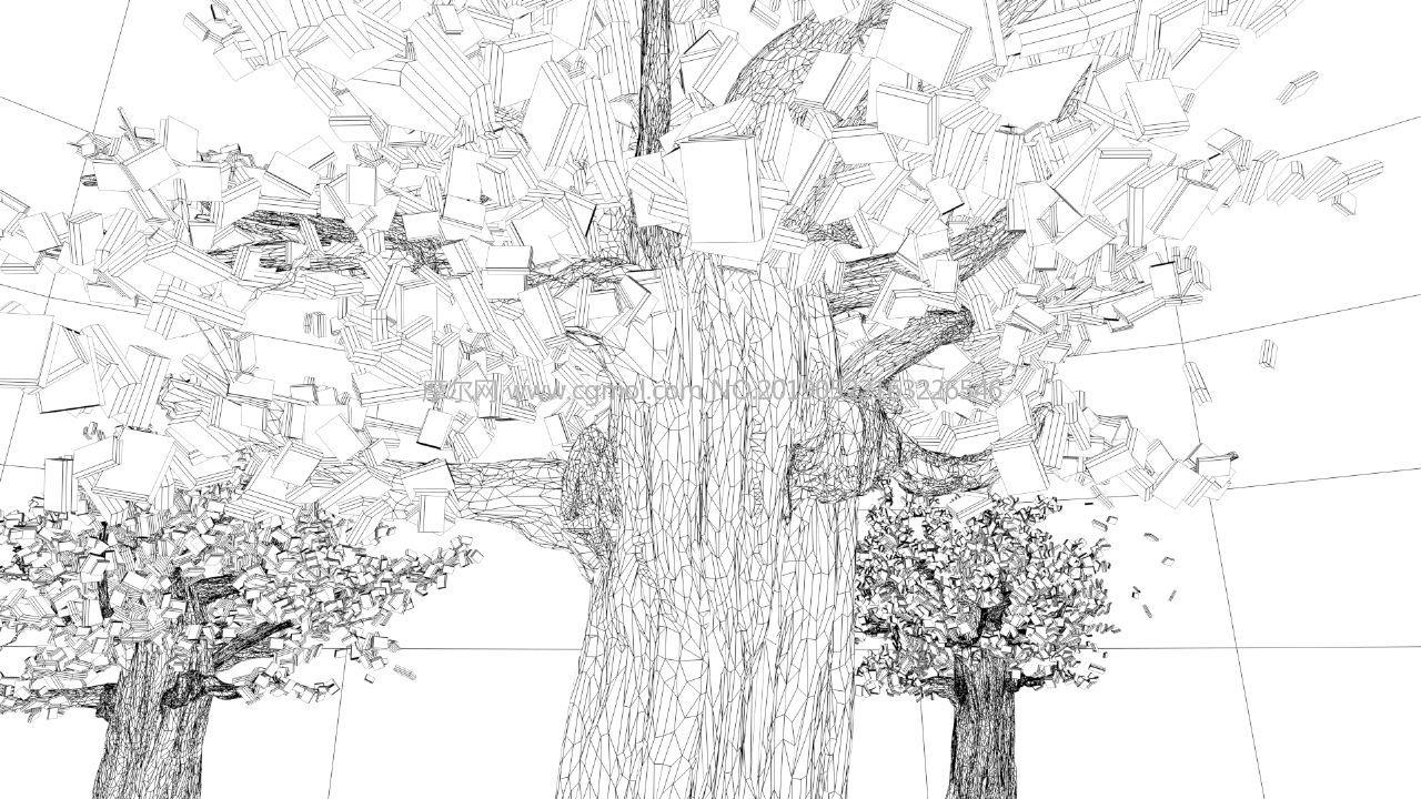 卡通水晶树,Q版水晶片许愿树maya模型,MB,FBX,ABC三种格式