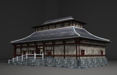 日式�L格的古建筑房子3D模型