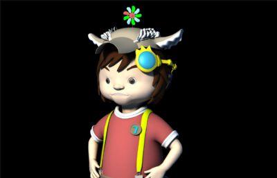 戴小風車的生氣小男孩maya模型,有材質