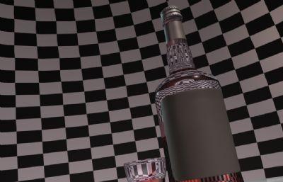JACK DANIEL'S杰克丹尼洋酒�t酒�o物maya模型