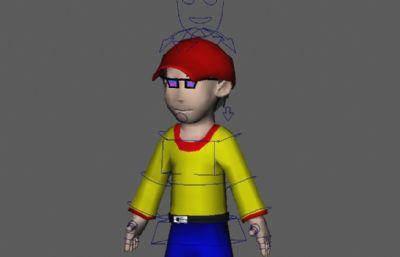 �易卡通男孩�Ы�定的maya模型