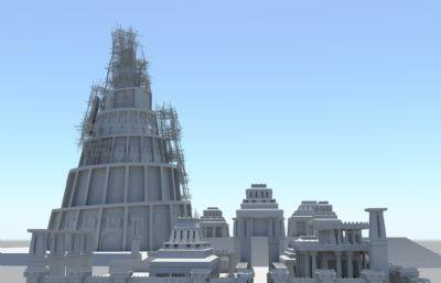 正在建设中的仿古埃及建筑maya模型