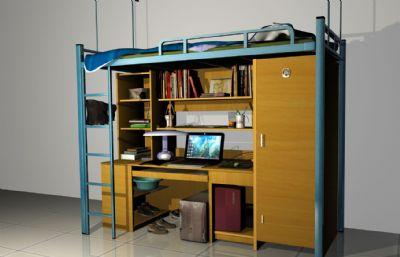 大�W宿舍�щ��X桌床�maya模型,��完整材�|�N�D