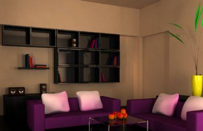 粉嫩的室�瓤�d效果maya模型
