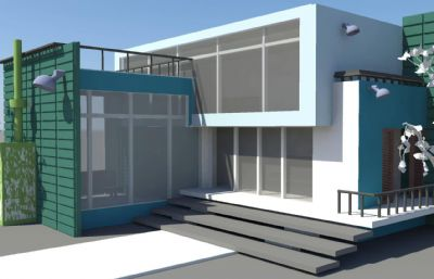 簡單別墅外部場景maya模型