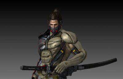 日系戴口罩的武士游�蚰P�max模型,有�N�D,�Ш��谓�定