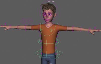 ray帅气男孩带绑定maya模型,表情控制