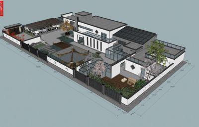 新中式 �e墅庭院山�fsu模型