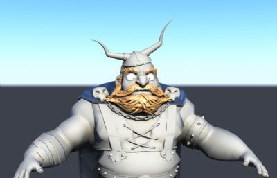 大胡子矮人,维京战士maya模型