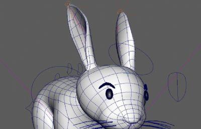 有�定的卡通�L格兔子maya模型