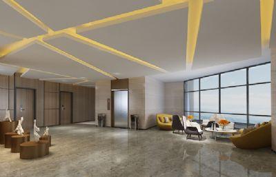 室内休息区,酒店休息大厅max模型