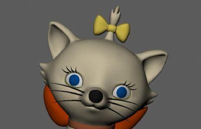 绑蝴蝶结小辫的猫咪maya模型
