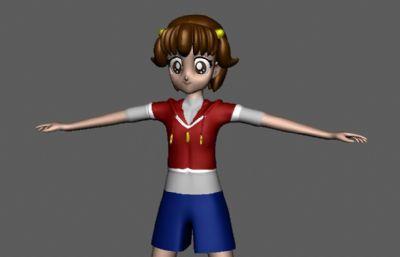 大眼黄头发韩国女孩maya模型