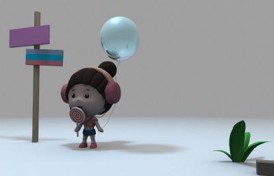 手拉气球,右手持棒棒糖的Q版小朋友maya模型