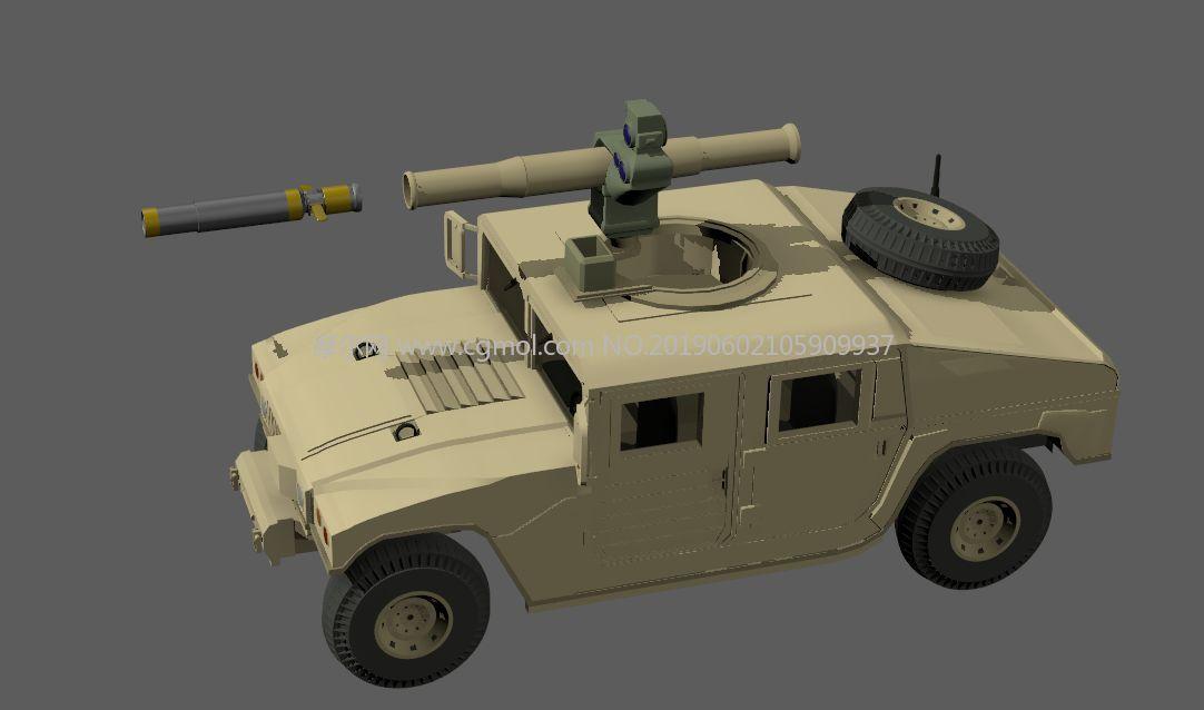 卡通矢量悍马H1模型,有简单炮弹发射动画