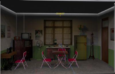 革命歷史館70/80年代客廳家居場景max模型