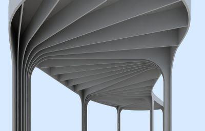 ��形廊架,�雠�max模型