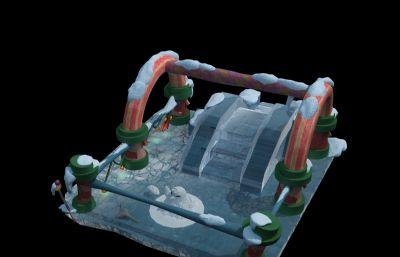 卡通圣诞冰雪滑梯max模型