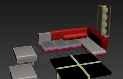 沙发茶几客厅套装模型