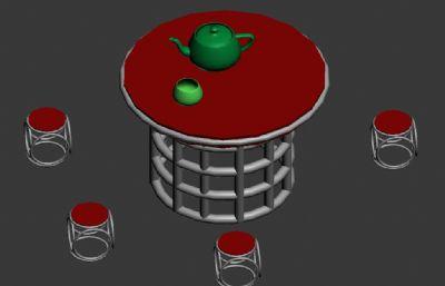 桌子凳子�A凳�M合max模型
