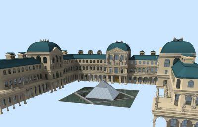 卢浮宫建筑博物馆整体Max模型源文件,带贴图