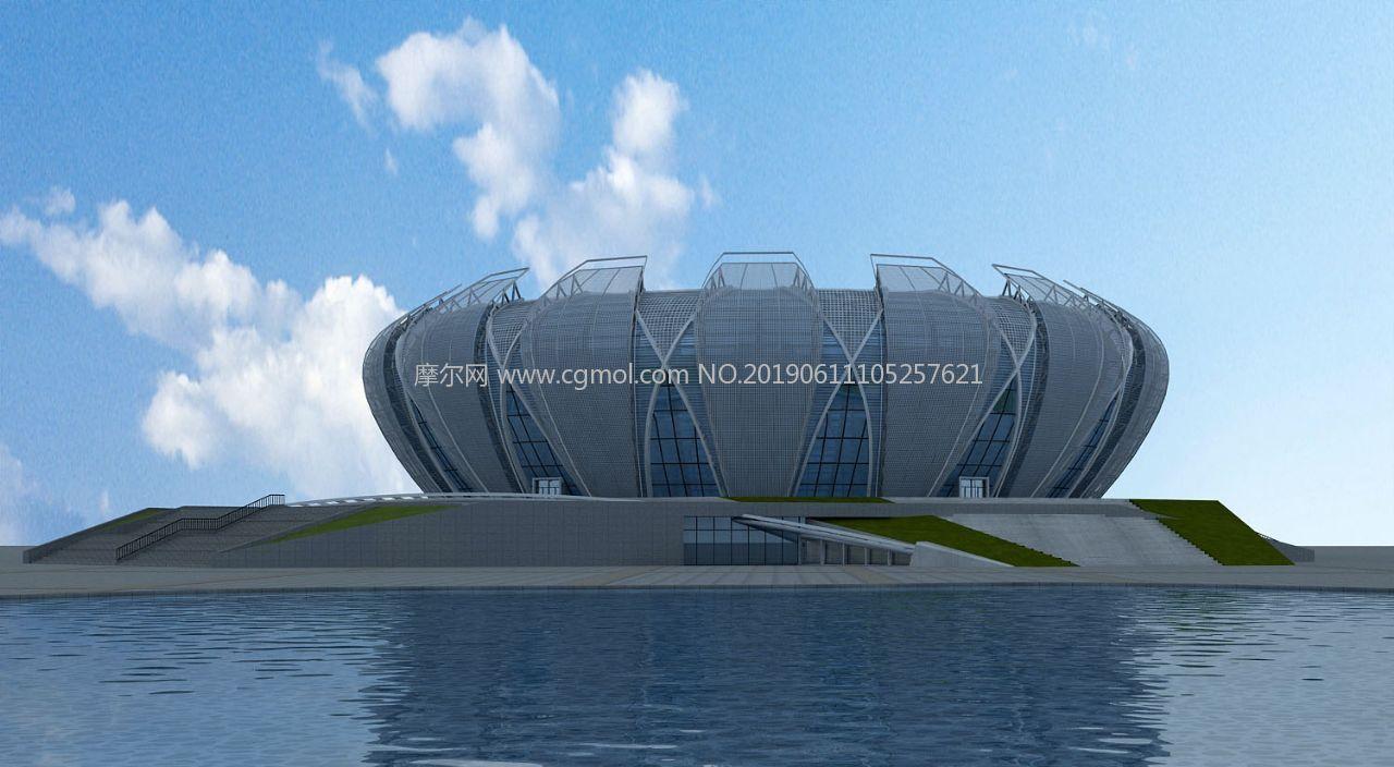现代水景艺体馆,体育馆max模型