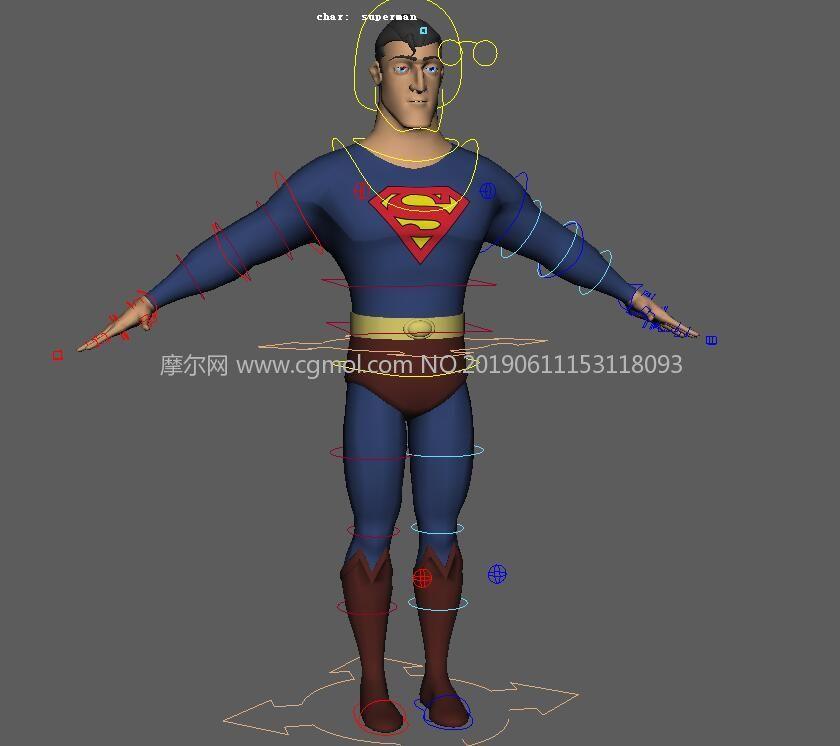 带绑定的超人maya模型