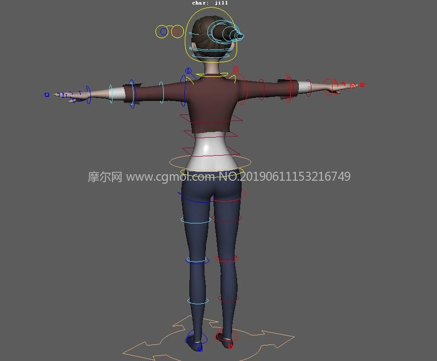 jill女孩,带绑定的Maya模型