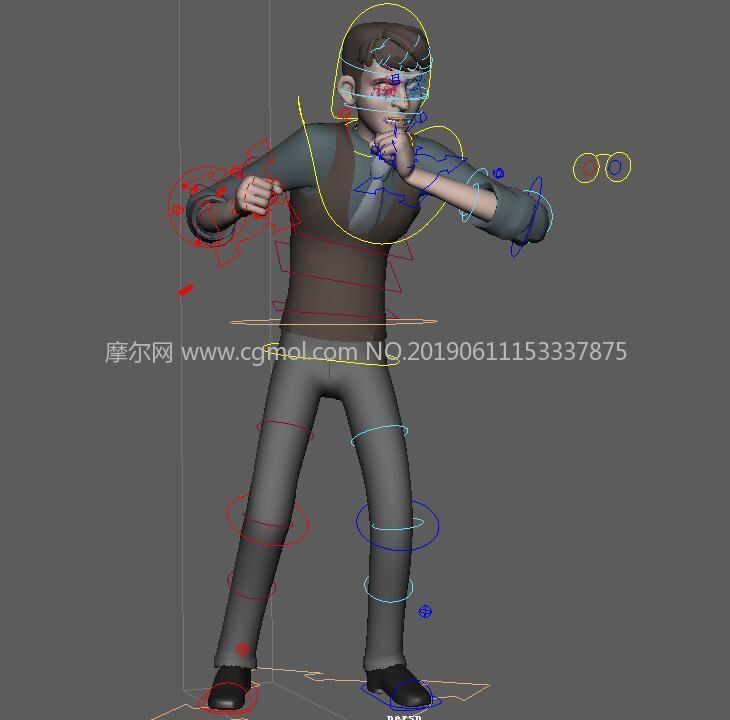 Jack杰克,带绑定和对话骂架肢体动作Maya模型源文件