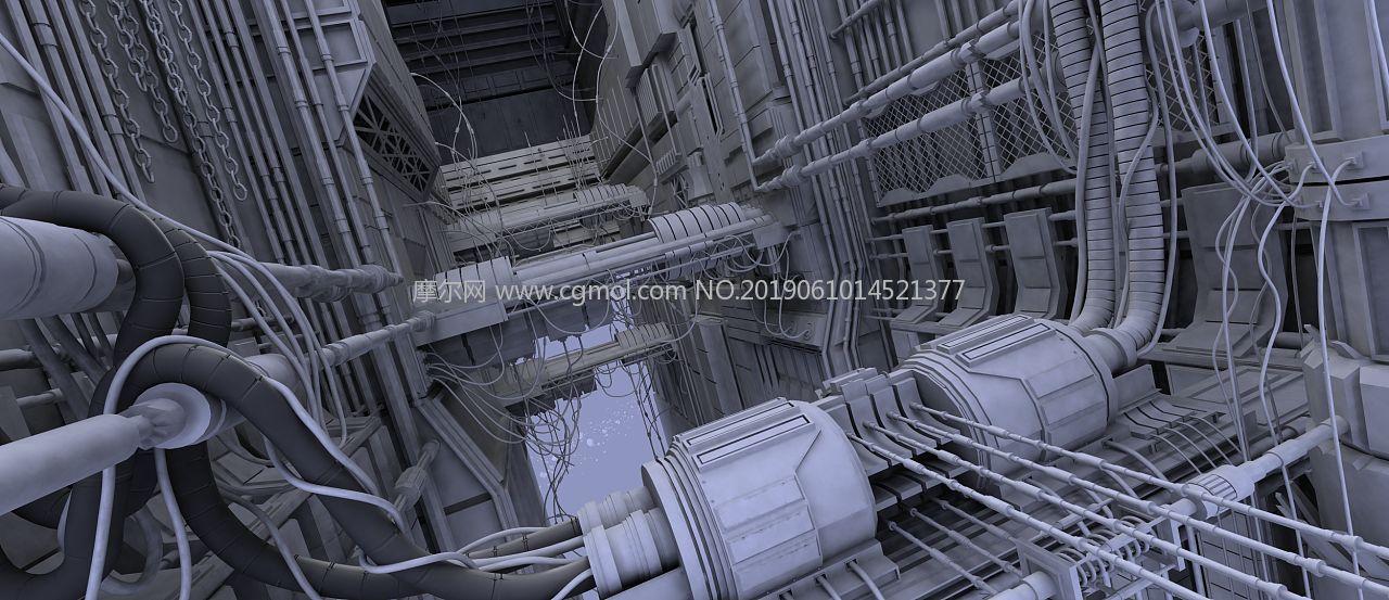 大型科幻舱内机械场景maya模型