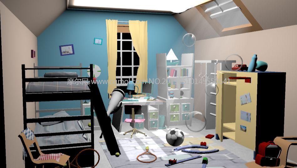 高低铺儿童房maya模型