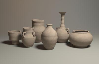 彩陶,钧瓷,瓷器maya模型一