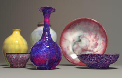 彩陶,钧瓷,瓷器maya模型二